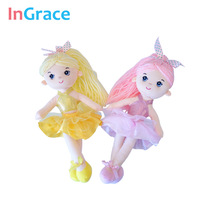 InGrace 7 colors mini ballerina dolls for girls gifts 30CM princess colorful doll soft stuffed decoration toys dancing girl(China)