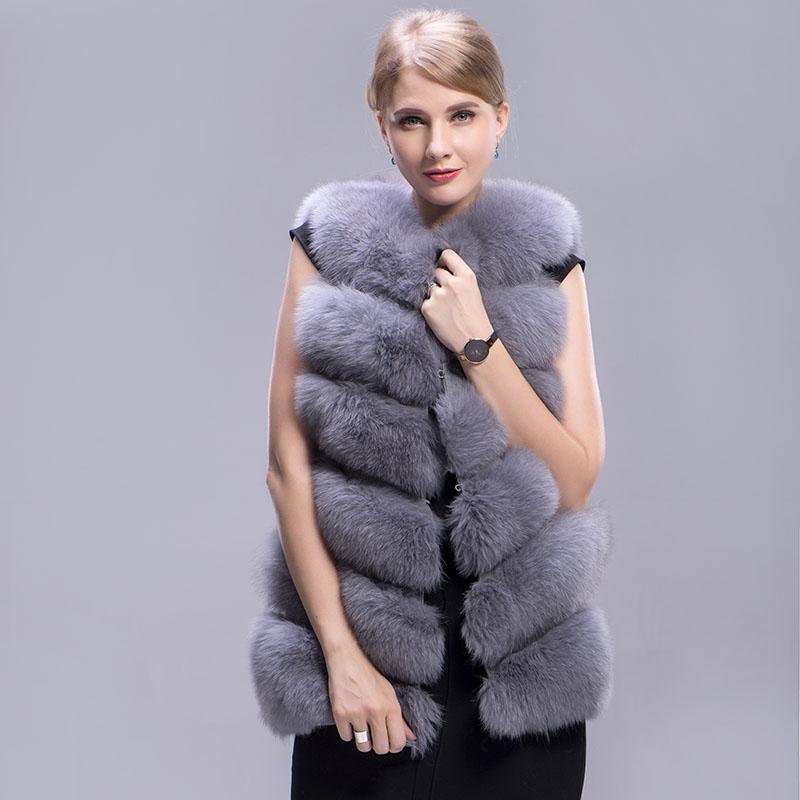 fox fur vest 6 lines grey 5