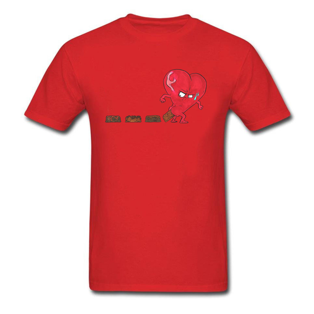 Design Chocolate Filled Heart Geek Short Sleeve Autumn Tops & Tees Wholesale Round Collar Cotton Fabric Tee Shirts Boy T Shirts Chocolate Filled Heart red
