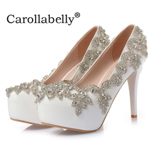 Luxry rhinestone Bridal shoes White Platform High Heels Sandals Handmade party Wedding Shoes(China)