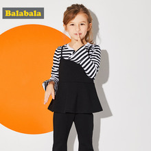 Balabala girls clothes set Fashion Children Girls Clothes Toddler Clothing Long Sleeve tracksuits costume child clothes set suit(China)