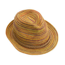 1Pc Lady Fashion Women Colorful Striped Straw Beach Summer Sun Panama Hat Foldable Cool Gift for Lover
