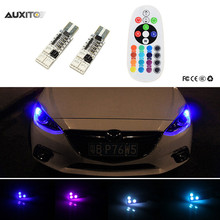 2x RGB LED T10 W5W Bulb With Remote Control 5050 SMD Parking Light For Mazda 2 3 5 6 CX-3 CX-5 CX-7 MX5 Atenza Axela 323 cx5(China)
