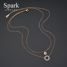 SPARK New Sun Smiling Face Double Layer Choker Necklace Stainless Steel Rose Gold Adjustable Necklaces Fashion Women Jewelry