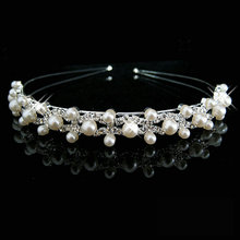 Hot Selling Fashion pearl crystal wedding princess headband Women Girls rhinestone pageant tiaras and crowns for bride hair