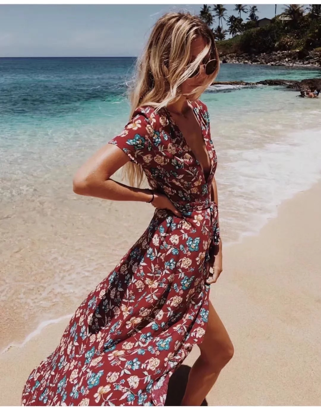 d421a63cd1c Sukibandra Summer Boho Long Maxi Women Wrap Dress Deep V ...