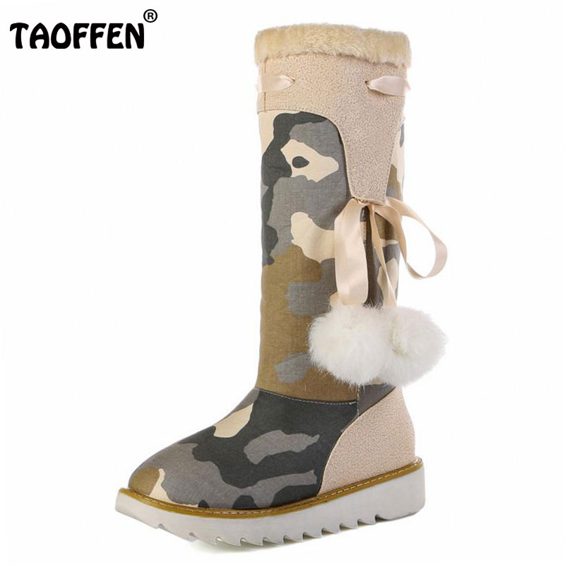 TAOFFEN Size 32-43 Gladiator Snow Boots Women Flats Half Short Boot Ladies Warm Plush Winter Mid Calf Boots Footwear Shoes Woman<br>