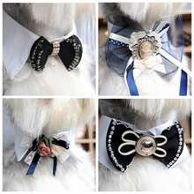 Pet Tie, Jeweled Collar for Cats & Dogs, Dog Bow Tie