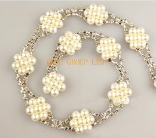 Artificial pearls flower Rhinestone band DIY fascinator crown Wedding nicklace hair ornament evening bag dress shoes.(China)