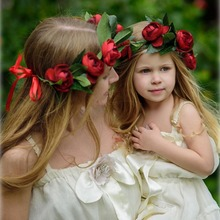 Buy 1 PC Baby Rose Flower Wreath Headband Women Kids Garlands Wedding Party Hair Flower Headdress for $3.37 in AliExpress store