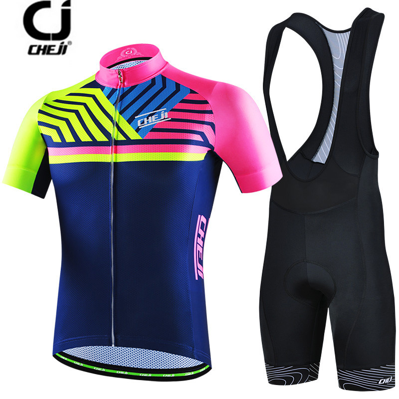 CHEJI colorful Cycling Jersey Set Bike clothing Ropa Ciclismo MTB bicycle jersey Padded Bib Shorts suit Riding Shirt Maillot<br>