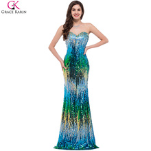 Luxury Evening Dress Grace Karin Glitter Sexy Sheath Sequin Long Mermaid Dresses Formal Gowns Party Fashion Evening Dress Design