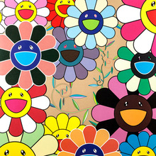 Murakami Takashi Works Sun Flowers (Group II) E Print Oil Painting on Cotton Canvas Painting Abstract Wall Art