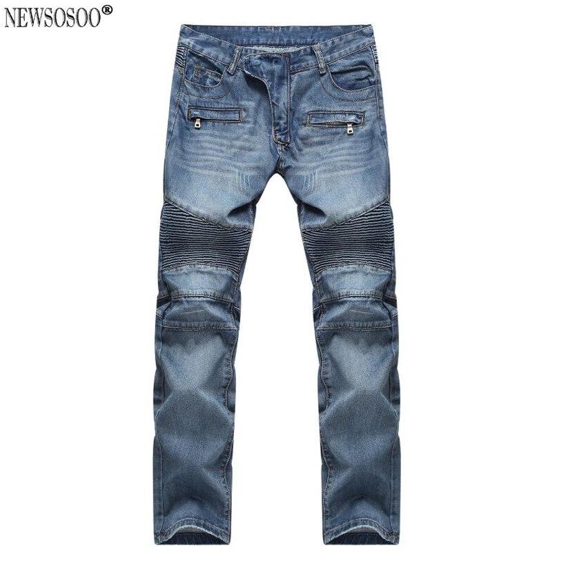 Newsosoo brand 2017 High-street style Men Biker jeans American youth fashion slim fit Knee Pleated jeans for male  MJ5Îäåæäà è àêñåññóàðû<br><br>
