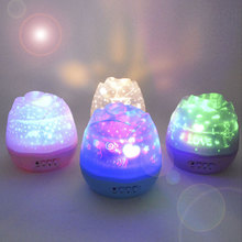 LED Night Light USB Power Supply Romantic Rose Buds Shaped Rotating Projector Lamp Children Kids Baby Sleep Nightlight Sky Star
