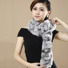Hot Sale Women Winter Fur Scarves Handmade Genuine Rex Rabbit Fur Scarf Wrap Natural Fur Shawls Winter YSC002