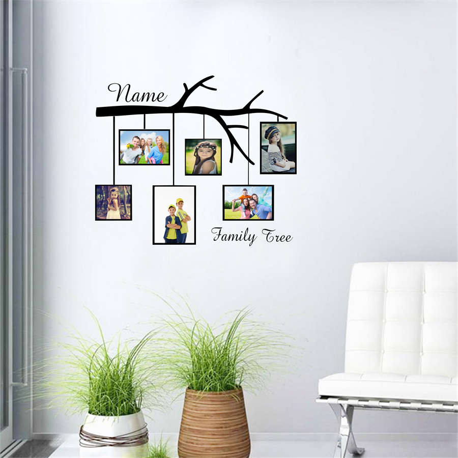 Tree wall decals large personalized family tree decal vinyl wall decal - Family Tree Custom Name Vinyl Wall Sticker Photo Frame Creative Personalized Wall Decals For Home Living Room Decoration