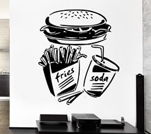 new home Wall Sticker Fast Food Fries Soda Burger Restaurant Pop Art free shipping