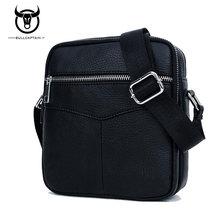 BULL CAPTAIN 2017 Fashion Genuine Leather Shoulder bag men causal Crossbody Bags Small Brand double Zipper Male Messenger Bags(China)