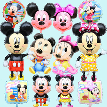 New Large & Small Cartoon Mickey Minnie Foil Balloons Cute Minnie Mickey Head Balloon Birthday Party Wedding Decorations(China)