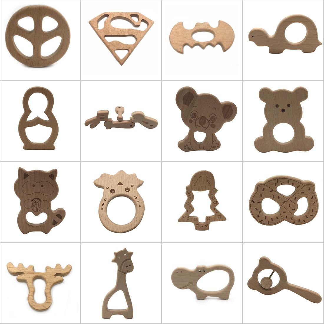 Handmade  Shower Toys Baby Teether Nursing Holder Nature Wooden Animal Shape