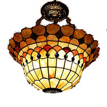 MAMEI Free Shipping Tiffany Style 16 Inch Flush Mounted Ceiling Bedroom Light Fixtures with 3 Lights
