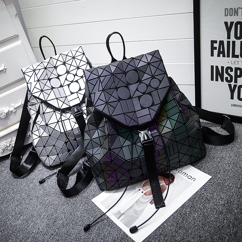 2017 New Matt Surface Geometric Backpack baobao Luminous Bag Students School Packback Women Backpack BAOBAO 10 Colors<br>