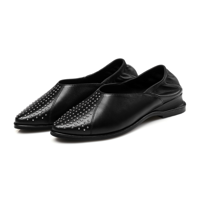 SARAIRIS 2018 Summer genuine leather rivet flat punk loafers shallow lady casual shoes size 34-39