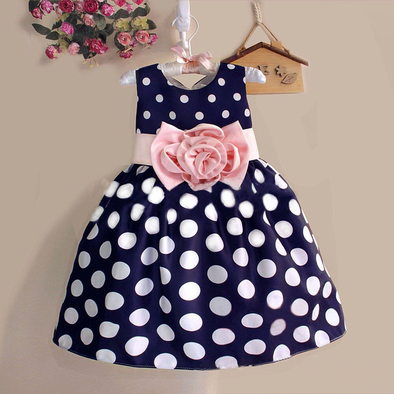 2017New Stylish Kids Toddler Girls Princess Dress Sleeveless Polka Dots Bowknot Dress! 2 color Top quality navy blue white<br><br>Aliexpress