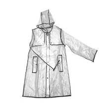 Fashion transparent plastic raincoat EVA cloak long rain cape Outdoor Travel  Waterproof Rain Coat