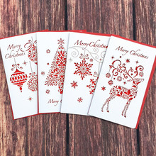 DoreenBeads Creative Paper Cutting Merry Christmas Cards Folding Xmas Blessing Card for New Year Christmas Gift Random Pattern(China)