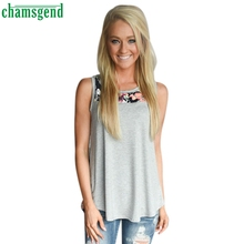 CHAMSGEND Good Deal 100% New Women Sleeveless Flowers Printed  Casual  T Shirt Vest Clothes 1PC_U00442