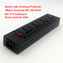 4 Ways PDU power strip Outlet extend,4-Outlet Universal socket with overload protector,Circuit Breaker Switch,IEC C13 input