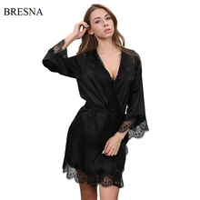 BRESNA Sexy Eyelash Lace Robes Women Bathrobe Home Sleep Wear Faux Silk Nightwear Long Sleeve Negligees Home Clothing Black Pink(China)