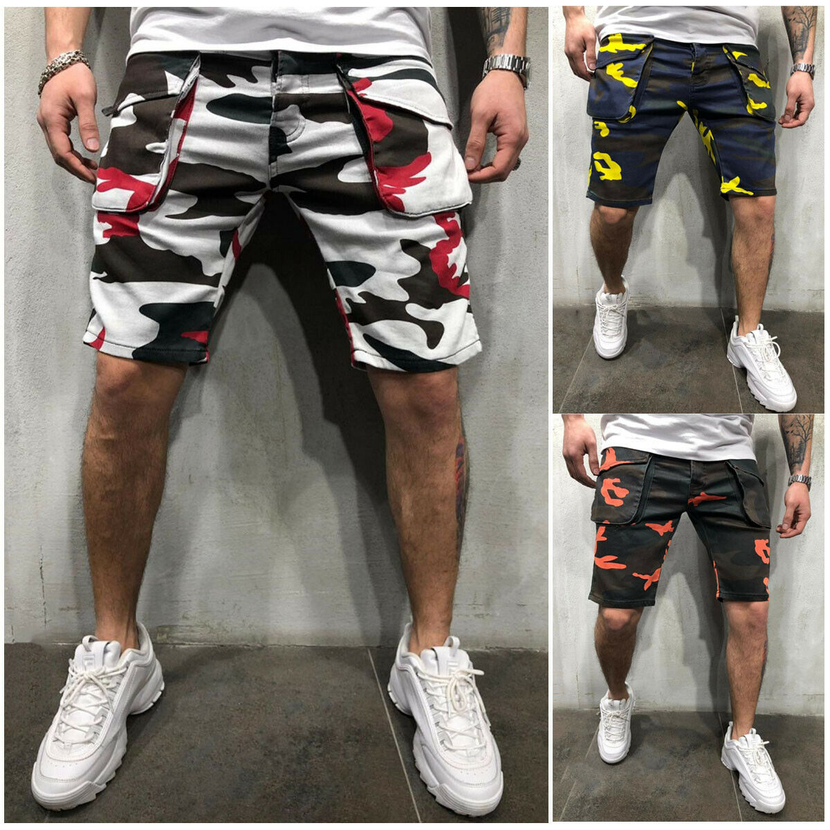 Mens Mens Cotton Blend Shorts Sports Work Casual Army Combat Cargo Shorts Pants Trousers with Pocket