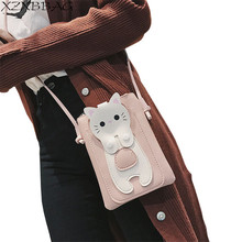 XZXBBAG Women Cute Cartoon Cat Mini Zipper Messenger Bags Girl Cell Phone Pouch Students Children Crossbody Case Shoulder Bags(China)