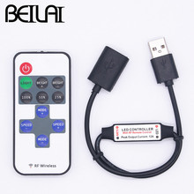 BEILAI Mini USB 5V RF Wireless LED Controller Dimmer Remote Control For USB LED String and Single Color LED Strip 5050 2835 5630(China)