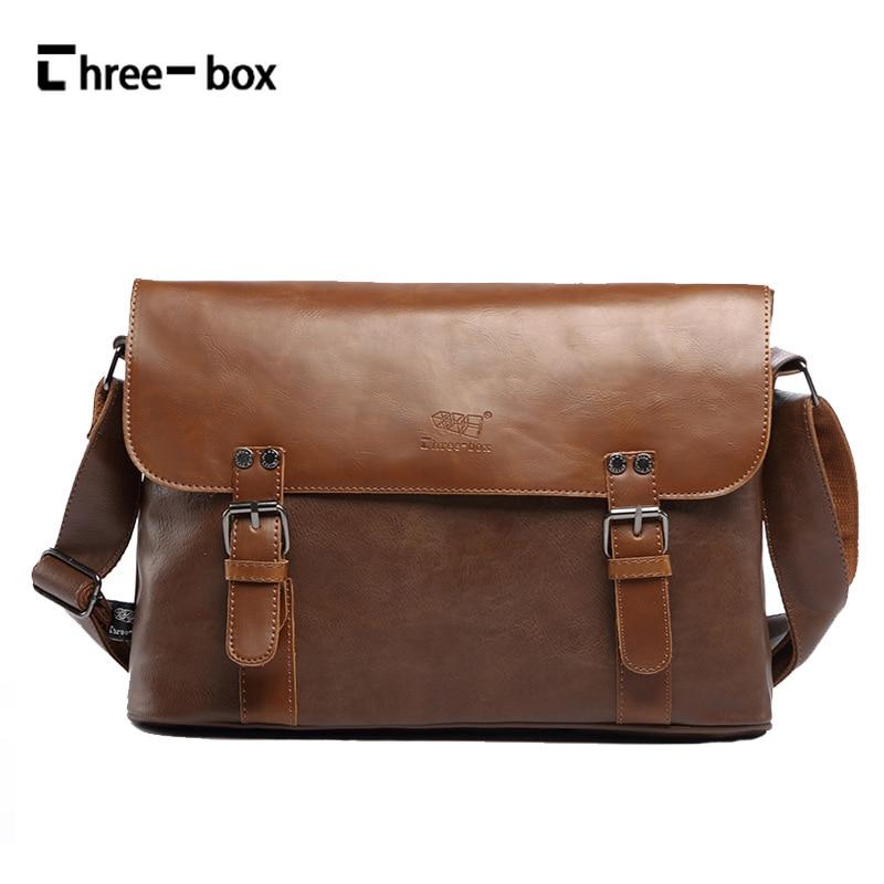 Three-box 2017 Fashion Mens Soft Leather Shoulder Bag Business High Quality Messenger Bag Vintage Mens Crossbody Bags Bolsas<br>