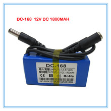 Free shipping DC-168 DC 12V 1800mAh rechargeable lithium Li-ion Battery for CCTV camera 100pcs/lot(China)