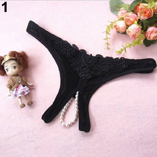 Women Sexy Crotchless Faux Pearl Decor Thong Panties Open Crotch Underwear(China)