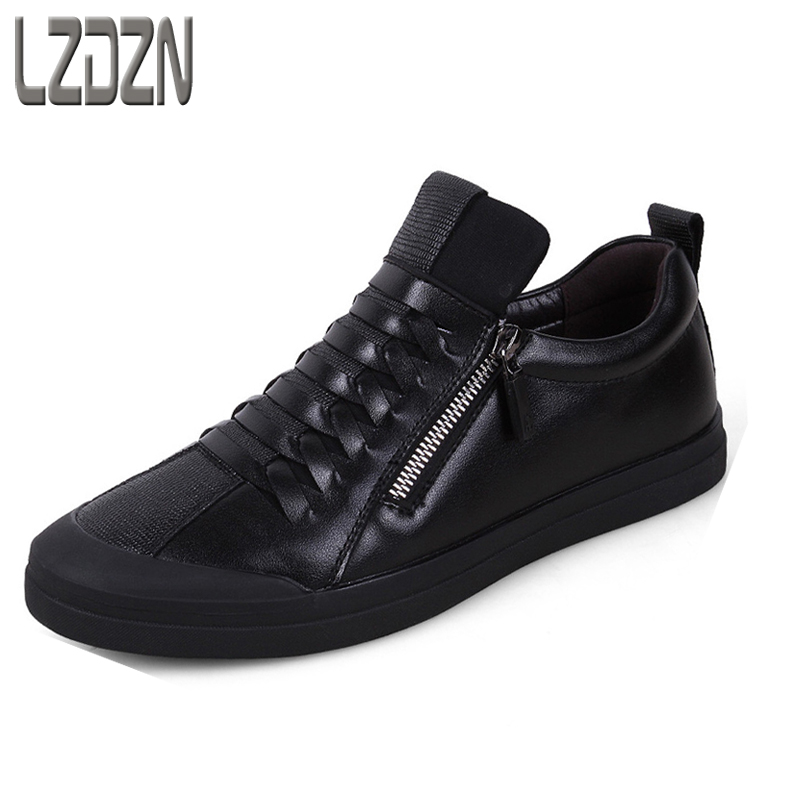 Mens leather shoes Korean youth autumn autumn personality without laces black shoes tide tide brand zipper middle-aged autumn<br>