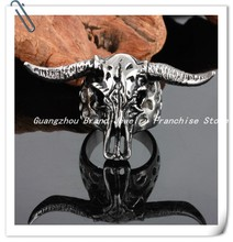 "Fashion ""Bull Demon King"" Jewelry 316L Silver Stainless Steel Punk Cow Head Women's Or Men's Rings,Character Of Christmas Gifts"