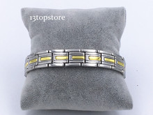 "Mens13.5MM Titanium Magnetic Therapy Link Bracelet Negative Ion Germanium Power Health Wrist Band 8.5"" Golden Silver Tone"