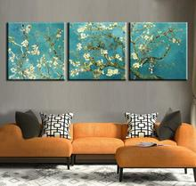 Print Painted Van Gogh Oil Painting Reproductions 3 Piece Abstract Canvas Art Almond Flower Picture Modern Wall(China)