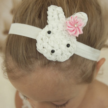 1PCS Bunny Headband with Mini Polygonal Star Flowers Cute Easter Hairband Boutique Hair Accessories Outfit Headwear