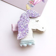2pcs Shinning Unicorn Hair Clips Baby Kids Children Hair pins Baby Hairgrips Hair Accessories(China)