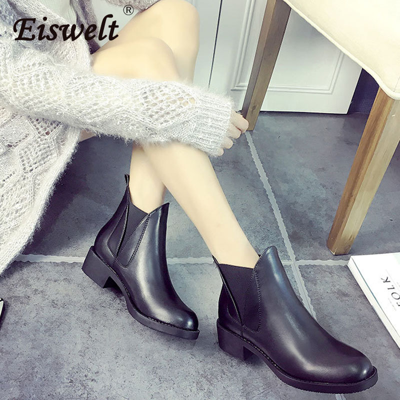 EISWELT Ladies Boots Women Genuine Leather Boots Ankle Boots Autumn Winter Flock Boots High Heels Chelsea Boots#ZQS237<br>