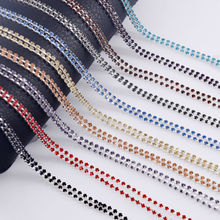 10yards SS6 2mm Glass Sparse Rhinestone Trims Silver Plating Cup chain Sew on Appliques for Bridal Dress Shoes Bags Decoration