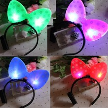 2017 Women Girls LED Light Up Bowknot Headband Flashing Polka Dot Head Bands Adults Hen Party Wedding Prom Hair Accessories(China)