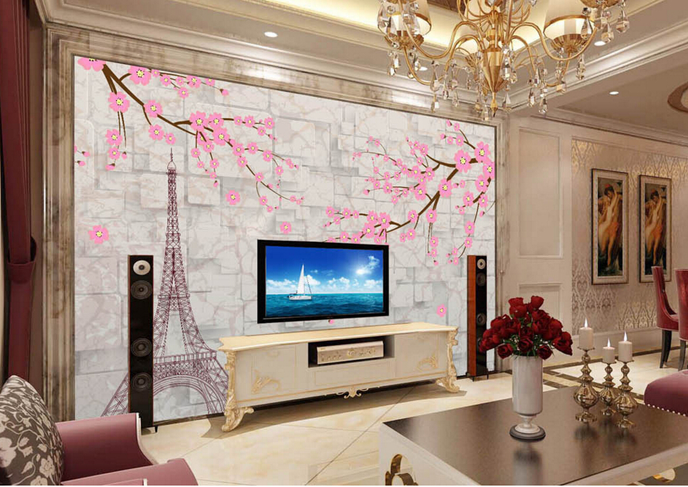 Custom wallpaper mural flowers,Vintage European plum,3D for living room bedroom TV restaurants backdrop embossed wallpaper<br><br>Aliexpress